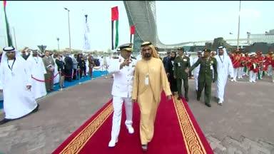 """أخبار الإمارات – محمد بن راشد يدشن الزورق صواريخ بينونة فئة كورفت """"الهيلي"""" بمعرض نافدكس"""