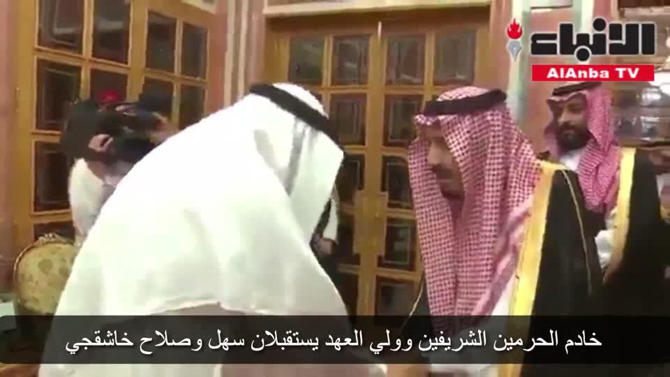 خادم الحرمين الشريفين وولي العهد يستقبلان سهل وصلاح خاشقجي